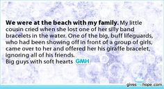 Random acts of kindness - We were at the beach with my family.