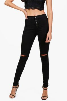 #boohoo High Waisted Button Fly Skinny Jeans - black #Veanne High Waisted Button Fly Skinny Jeans - black