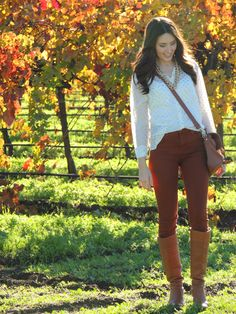 Fall outfit: white blouse, maroon pants, brown boots