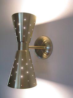 Mid Century Modern Double Cone Wall Sconce- Wall Lamp Lighting Retro Atomic. $115.00, via Etsy.