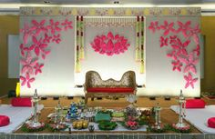 Mesmerize your guests with the charm of these engagement stage decorations ideas. Discover about the latest Engagement Stage Decoration Ideas with this post. Engagement Stage Decoration, Naming Ceremony Decoration, Wedding Hall Decorations, Marriage Decoration, Backdrop Decorations, Baby Shower Decorations, Flower Decorations, Background Decoration, Wedding Entrance