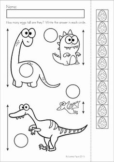 Dinosaur Preschool Math and Literacy No Prep worksheets and activities. A page from the unit: measurement - height