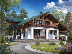 Бюджетная визуализация Facade Design, Exterior Design, Architecture Design, Swiss House, Small Country Homes, Modern Villa Design, House Front Design, Wooden House, Cabin Homes