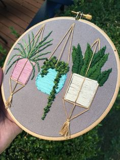 Hanging pastel pots  hand embroidery  hoop art  by MoonGirlbyLil