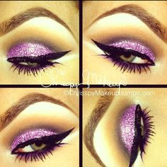 Could you pull of this purple glitter smokey eye? Love Makeup, Makeup Tips, Makeup Looks, Hair Makeup, Makeup Ideas, Amazing Makeup, Pink Makeup, Makeup Stuff, Pretty Makeup