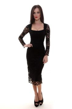 Black Maui Stretch Lace Pencil Dress    Price:£129.00    The Pretty Dress Company presents the Maui pencil dress; An ultra flattering, figure fixing vintage inspired pencil dress!    Fall in love with lace this autumn...  Lace is one of this season's biggest trends and it's easy enough to accessorise this look any way you like.