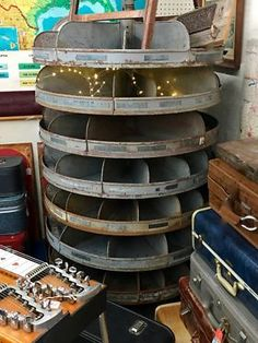 Large Vintage Metal Hardware Store Rotating Storage   Hand Sanded and Cleaned…