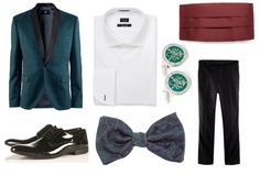 Look 3: Emerald Elegance: To combine I opted for a shirt of Paul Smith vesitr (220 €). The label will bring touch with a silk sash in burgundy from the British firm Moss (22 €). The assembly must is undoubtedly textured silk bow tie with paisley print pattern of SoloIo (22 €). Twins occasion silver fleur de lis are from the same firm (33 €). The look we fit it with one basic patent leather shoes Topman (100 €).