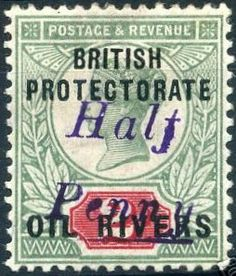 """Oil Rivers (SG """"HALF PENNY"""" in violet on green & red type squat block capitals top line line, spacing, overprint in mixed case light Stamp Values, Queen Vic, List Of Countries, Vintage Stamps, British Colonial, Stamp Collecting, Type 1, Ephemera, Stamping"""
