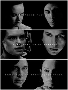 """""""I don't think there's a lot of people around him who are on the same level. I think that there is something familiar there, as well as something to be feared, or something… that he can't quite place."""" —Adam Driver #reylo"""