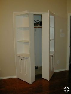 Closet Doors Ideas Hidden Shelves Double Hidden Door With Three Shelves And Two Cupboards Ajar Closet Without Doors Ideas Hidden Storage, Closet Storage, Locker Storage, Storage Room, Tiny Bedroom Storage, Hidden Shelf, Wood Storage, Hidden Spaces, Hidden Rooms
