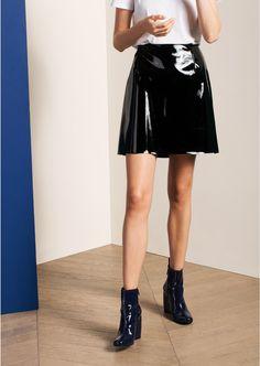 Mini jupe en vinyle noire - femme - tara jarmon 2