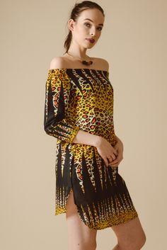 f72ffd8b45 animal print black dress Bardot Dress