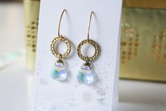 Iridescent Crystal & Hammered gold dangle earrings for by adairya2, $16.50