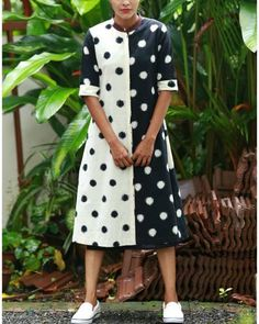 Black White Half And Half Ikat Kurta I Shop at :http://www.thesecretlabel.com/shalini-james