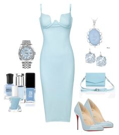 """""""Baby Blue"""" by chauert ❤ liked on Polyvore featuring Christian Louboutin, Kate Spade, Rolex, JINsoon, Leighton Denny, Kabella Jewelry, Deborah Lippmann and Essie"""