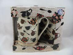 Teapot Flower Coffee Tea Cup Mug Box Gift Set 10 oz Lid Coaster Kent Pottery New #KentPottery