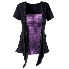 Rippled Purple and Black Top  Item #: P82514    Price: $59.95
