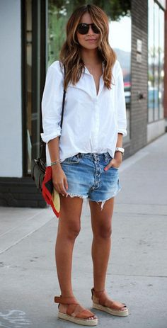 **** Stitch Fix Summer 2017 Inspiration! Distressed frayed denim is all the rage this Spring Summer - Stitch Fix has the best picks of all the great trends. Love this laid back, relaxed summer look of distressed denim shorts and laid back button up white top. So cute!! Simply click the picture to get started! #sponsored #StitchFix