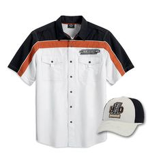 Harley-Davidson Short sleeve ripstop colorblock woven shirt and the #1 motors fitted baseball cap