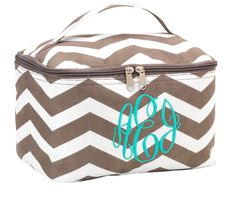Get the girl who loves make up this adorable taupe chevron cosmetic bag - Full lined - pockets inside - Add their monogram to make this gift extraordinary, stylish and chic! Additional colors available - www.kensingtonlaine.com $17.95