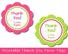 Baby shower thank you gifts with free printable gift ideas free diy bridal shower printables in pink and lime green free printable party favor tags negle Image collections