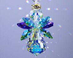 Suncatcher m/w Swarovski Crystal the Original *PEACOCK COLORS ANGEL* Extemely Rare Aurora Borealis Body and Wings Lilli Heart Designs