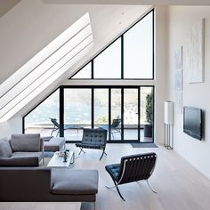 Seating area with estuary view | Minimalist Devon home | House tour | housetohome.co.uk