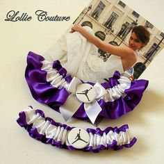 Personalized wedding garter set  Bridal garter by lolliecouture