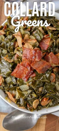 Collard greens with bacon are a delicious side dish that we love making with fried chicken. This collard greens recipe is easy, and makes the perfect comfort food! recipe soul food instant pot Collard Greens - Spend With Pennies Collard Greens Recipe With Bacon, Southern Collard Greens, Fried Greens Recipe, Recipe For Kale Greens, Crockpot Collard Greens, Cooking Collard Greens, Bacon Recipes, Veggie Recipes, Cooking Recipes