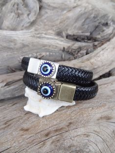 Men's Evil Eye Bracelet Black Thick Braided Leather with | Etsy Thick Leather, Men's Leather, Braided Leather, Thick Braid, Black Braids, Evil Eye Bracelet, Fathers Day Gifts, Gifts For Her, Bracelets