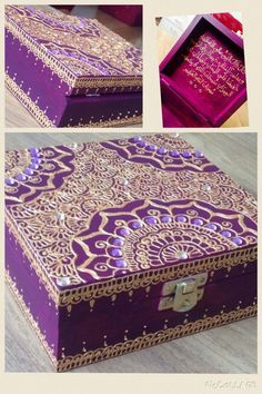 Henna jewellery box by - women's jewelry, buy jewellery online, online jewelry retailer *ad Jewellery Boxes, Wooden Jewelry Boxes, Women's Jewelry, Cigar Box Crafts, Henna Candles, Decoupage Box, Art N Craft, Painted Boxes, Henna Art