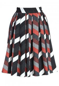 Playful Color Block Pleated Skirt - Retro, Indie and Unique Fashion