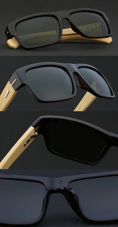 be55b26e8c Mens square polarised 90s frames bamboo shades - Black sunglasses with  wooden temples for men.