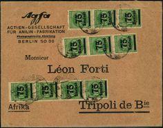 """75 Tsd. auf 1000 M. Überdrucke 1923 per zehn auf portogerechtem Auslandsbrief """"BERLIN"""" 29.9.23 nach Tripolis / Libyen (oberer linker Wert Za..."""
