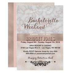 Bachelorette Weekend Itinerary Rose Gold Marble Card - marble gifts style stylish nature unique personalize