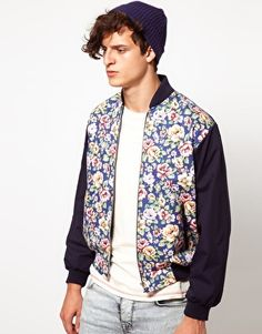 Reclaimed Vintage Varsity Jacket with Floral Tapestry Panel