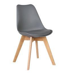 DON-WOODY Designerchairs.nl Kunststof stoel met lederen zitting. Onderstel van eiken hout.