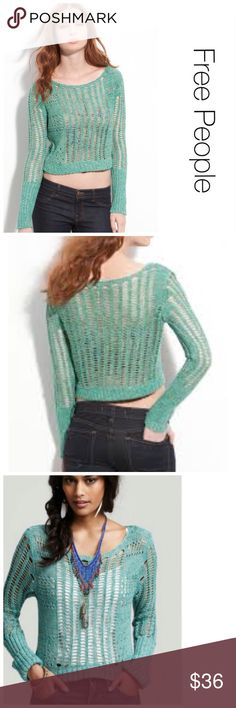 Free People Green Knit Sweater M ♦️Excellent Condition. No stains, tears or holes. ♦️please leave comment if you need measurements. Free People Sweaters