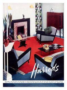"Harrod's Home Furnishing Ads from the ""Hollywood Regency"" look. Patio Furniture Redo, Retro Furniture, Furniture Design, School Furniture, Luxury Furniture, Mid Century Decor, Mid Century Design, Harrods, Vintage Interiors"
