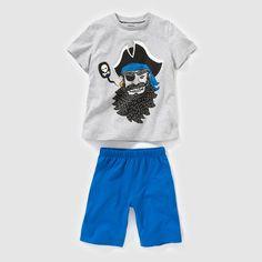 Pyjashort in jersey met piraat print R kids : prijs, mening en score, levering. Pyjashort in jersey van zuiver katoen (behalve mêleegrijs : merendeels katoen). T-shirt met korte mouwen en ''piraat'' animatie vooraan. Effen short met elastische taille.