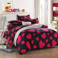 New Bedding Sets 4/3pcs Aloe Cotton Bed Sheets Set Heartbeats Duvet Cover Sets Dropship Bed Set Hello Kitty Kids Bedding Set