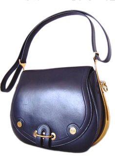 hermes vintage blue saddle bag