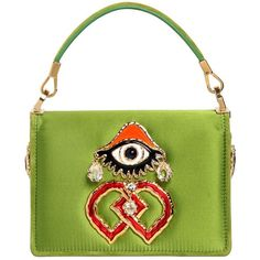 Dsquared2 Women Swarovski & Eye Charm Satin Shoulder Bag (53,720 THB) ❤ liked on Polyvore featuring bags, handbags, shoulder bags, green, chain handle handbags, chain strap handbags, top handle purse, green purse and green shoulder bag