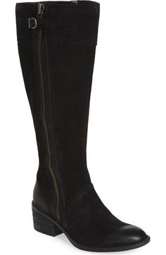 "born ""poly"" riding boot black distressed leather. 15"" shaft. wide calf available. zips up both sides but don't care for outside zip"