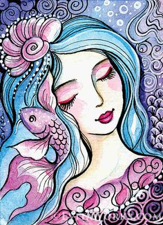 Mermaid 80 ~ this item is based on our original painting. varied hand-made crafts with this motif available. Art And Illustration, Mermaid Illustration, Kunstjournal Inspiration, Art Journal Inspiration, Fantasy Kunst, Fantasy Art, Unicornios Wallpaper, Art And Craft Videos, Mermaid Art