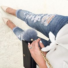 Weekend vibes! Distressed denim and a white button up!