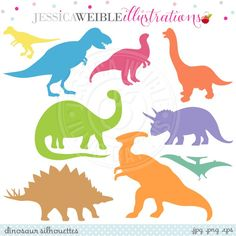 Dinosaur Silhouettes Clipart - JW Illustrations