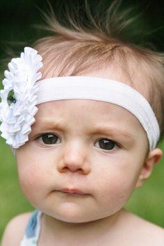 White ruffled flower headband,baptism headband, christening headband,  infant headband, baby headband, toddler headband