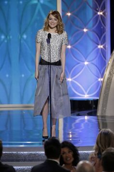 Emma Stone wearing Chanel Spring 2014 Rtw Silk Skirt + Pearl Top and Christian Louboutin Body Strass Pumps.